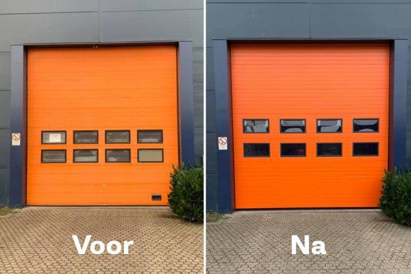 Voor en na: renovatie overheaddeur in Kampen